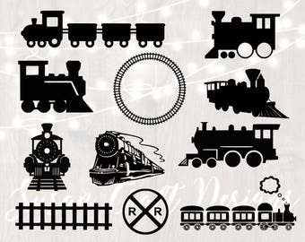 Train svg bundle, trains svg, train clipart, cut files for cricut and silhouette, png, dxf