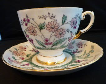 Tuscan Footed Fine English Bone China Cup and Saucer Pink Blue Purple Flowers