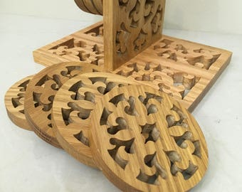 Set of 8 Coasters Round Craved Wood with Stand Boho