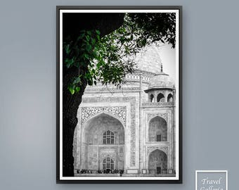 India Taj Mahal Wall Art Print Poster - Agra, Abstract, Modern, Indian, Printable, Black and White, Home Decor, Digital Download