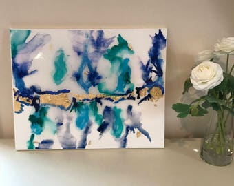 "Original Abstract Alcohol Ink Art- Blue, Green, Gold with Resin Coat 16"" x 20"" on Stretched Canvas"