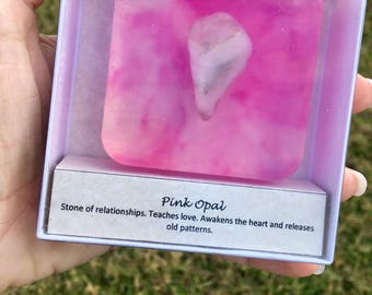 Cranberry Vanilla Soap infused with a hand picked tumbled Pink Opal Stone.