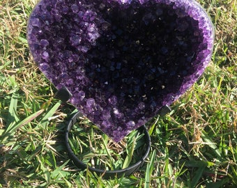 High Quality Amethyst Cluster Heart with Custom Metal Stand Large