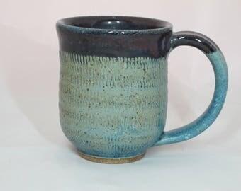 Blue textured coffee mug