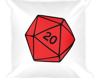 Red D20 Square Pillow