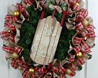 Holiday Wreath, Front Door Wreath, Chrristmas Decor, Door Wreath, Holiday Wreath, Rustic Christmas Decor, Custom Wreath, Christmas Wreath