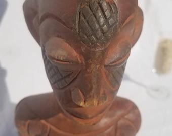 TRIBAL EXOTICS : PREMIUM Authentic fine tribal African Art - Mangbetu Ancestral Wood Figure Sculpture Statue Mask