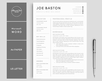 resume template modern professional resume template for word cv resume cover letter - Professional Resume And Cover Letter