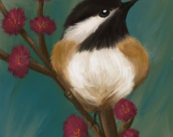 Chickadee Digital Painting on canvas