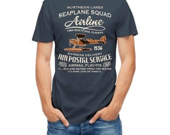 T-shirt Seaplane Squad Airline Retro Style Airmail Postal Service 25166