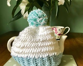 Handmade white and blue crochet 3 cup teapot cozy with Pom Pom detail