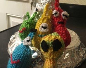 Hand knitted mini alien set