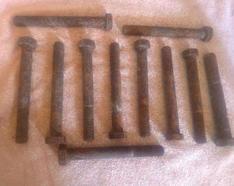 1 lot of 11 Large bolts, Rusty, Repurpose, Industrial Iron, Very strong bolts