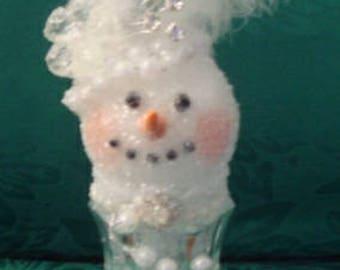 Handmade OOAK original collectible vintage salt shaker snowman snow girl Christmas decoration