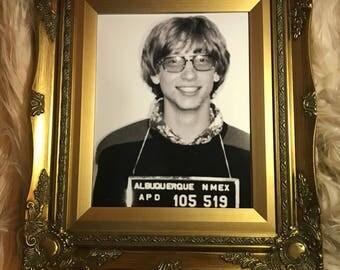Gold Framed Bill Gates Mug Shot