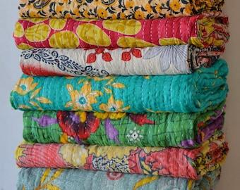 20 PC LOT Vintage Handmade Kantha Quilt  Reversible Cotton Indian Blanket Throw Bedding