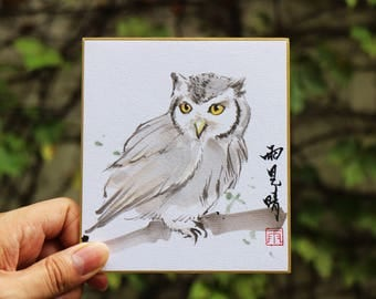 Tradition Chinese Ink Painting, Original Painting, Sumi-E OWL