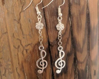 Silver Treble Clef Dangle Earrings and Silver Ball with Crystals