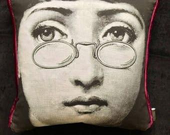 Fornasetti Inspired Velvet Cushion