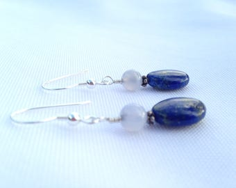 Lapis Lazuli, Agate and Sterling Silver Earrings
