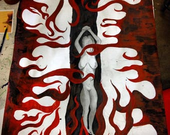 ORIGINAL A3 Naked Fire Painting/Drawing.