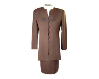 Rena Rowan For Saville 2 Piece Skirt and Jacket Lined Suit  Size 12