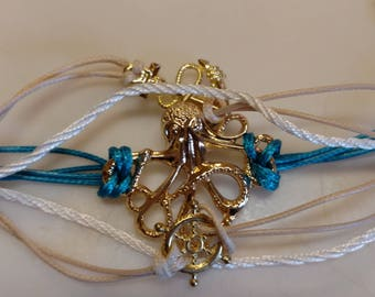 Sea Styled Rope Bracelet with Charms