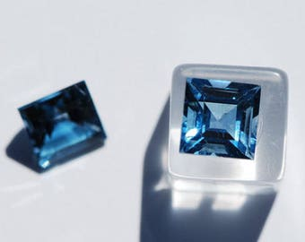London Blue Topaz, Square, One Piece faceted 7.75 x 7.75mm, Excellent Cut and Polish, approx. 3ct. ea, F1355