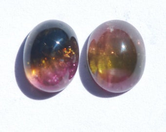 LOT of 2 - Watermelon Tricolor Tourmaline Cabochon, Deep Pink, Yellow, Light Pink and Olive Green Color, Oval, 8 x 10mm, approx. 3.35ct ea.