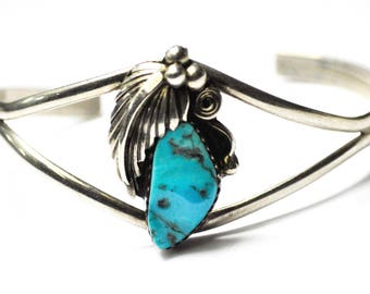 Sterling Silver Floral Turquoise Wire Bangle Cuff Bracelet Handcrafted 26mm