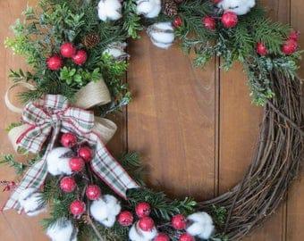 Winter Cotton Wreath