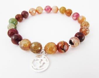 Om Charm and Gemstone Bracelet, Sterling Silver Om Charm Bracelet, Multi Colour Agate Stretch Bracelet, Yoga Gemstone Bracelet, Om Bracelet