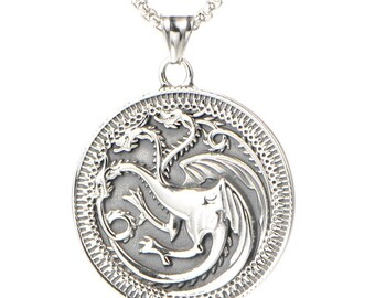 Game of Thrones Necklace, Game of Thrones Jewelry, Game of Thrones Pendant, Daenerys Targaryen Pendant, Silver Jewellery