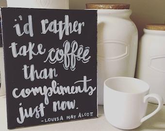 Coffee Canvas Art - Little Women - Louisa May Alcott - Chalkboard
