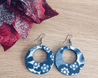 Blue decoupage earrings