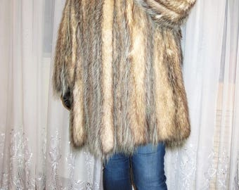 Natural fur, coats of opossum coat with long sleeves Real coat Vintage 90's Coat Opossum crystal Winter Long Jacket XXL