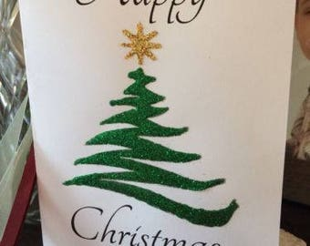 A5 Personalised Christmas tree  Hand Glittered Greeting card Christmas Xmas