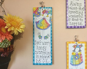 Hand Painted Decorative Tile (Don't Worry Honey) Wall Decor