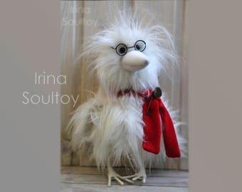 White Crow Epifan. White Bird. Bird toy. Raven. Soft toy. Fur toy