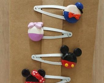 Polymer clay kids Disney hairclips.