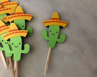 Cactus Toppers, Mexican Cactus Cupcake Toppers, 12ct