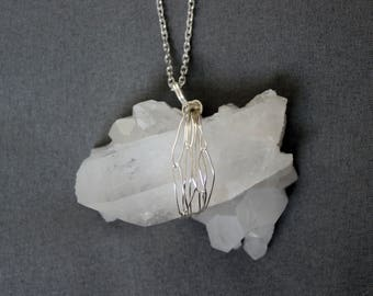 Quartz necklace Crystal pendant Raw crystal necklace Boho Jewelry Bohemian necklace Sterling silver necklace Nature lover gift for her Stone
