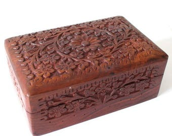Indian carved wood box