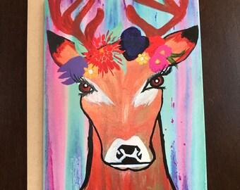 Deer with Flower Crown Greeting Card
