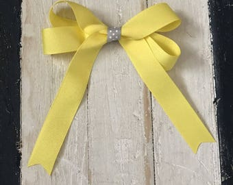 Yellow Tails Down Hair Bow