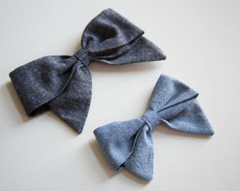 Large & Extra Large Chambray Schoolgirl Bow on Headband or Clip