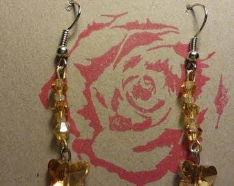 Yellow swarovski Crystal earrings.