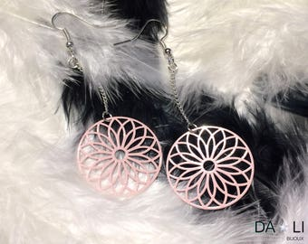 """Earrings """"Rosace"""", pastel pink color"""