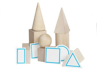 """Wooden Toy """"Set of geometric solids"""". The """"No Paint"""" Special. A natural wood toy. Kids Toy."""