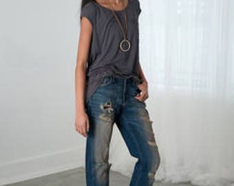 Edgy Blouse With Short Sleeves